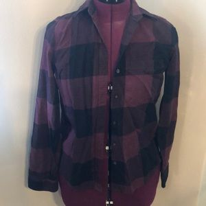 Maroon and black checkered flannel